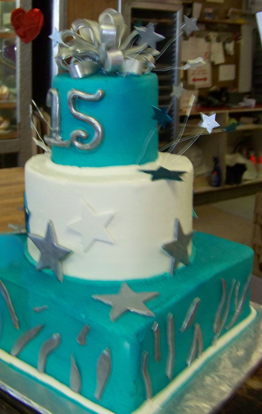 Silver And Blue  on Cake Central