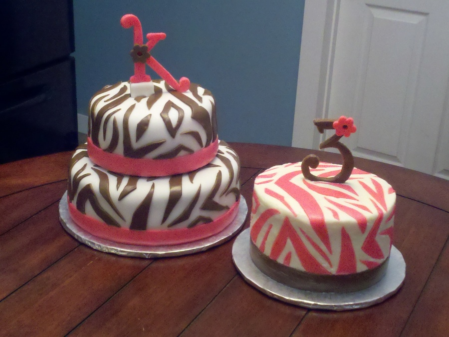 Pink & Brown Zebra Print Cakes on Cake Central