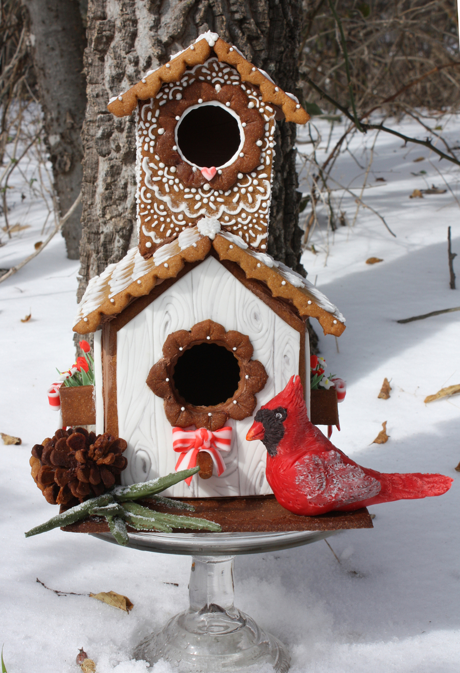 Gingerbread house pine cone and sprig the cardinal is made out of modeling chocolate royal icing - Building a home according to cardinal directions ...