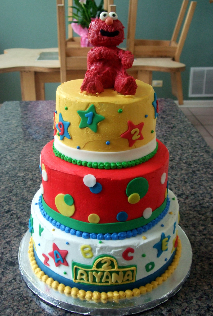 3 Tiered Elmo Cake on Cake Central