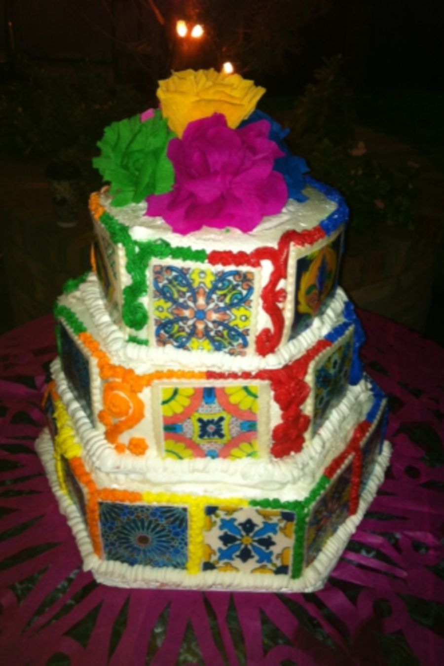 Mexican Tile Wedding Cake on Cake Central