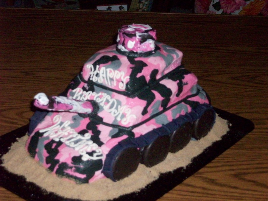 Stupendous Girly Pink Camouflage Tank Cakecentral Com Funny Birthday Cards Online Overcheapnameinfo