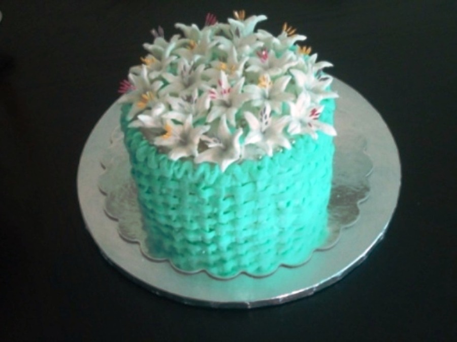 Tiffany Blue And White Lilies on Cake Central