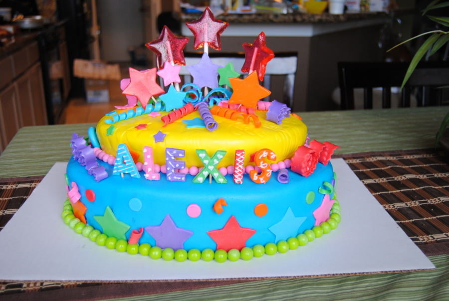 Enjoyable Vibrantly Colored Birthday Cake Cakecentral Com Funny Birthday Cards Online Elaedamsfinfo