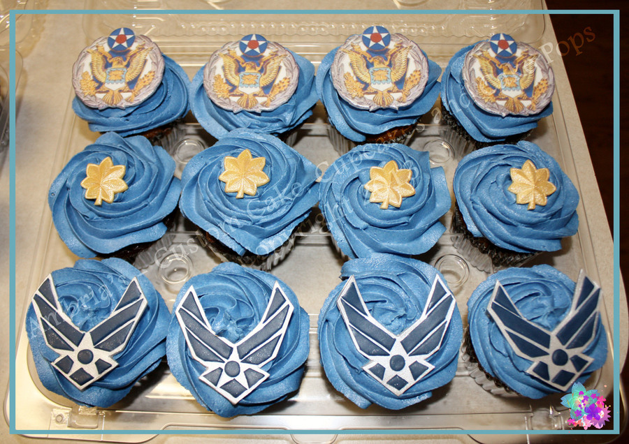 Air force promotion cupcakes for Air force cakes decoration