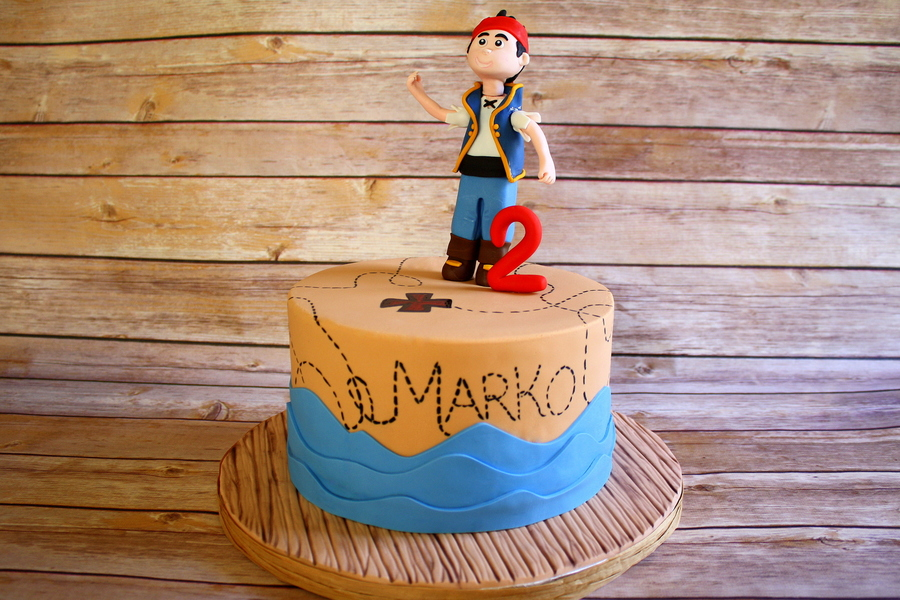 Pirate Cake With Hand Modeled Figure And 2 Fondant Waves Painted