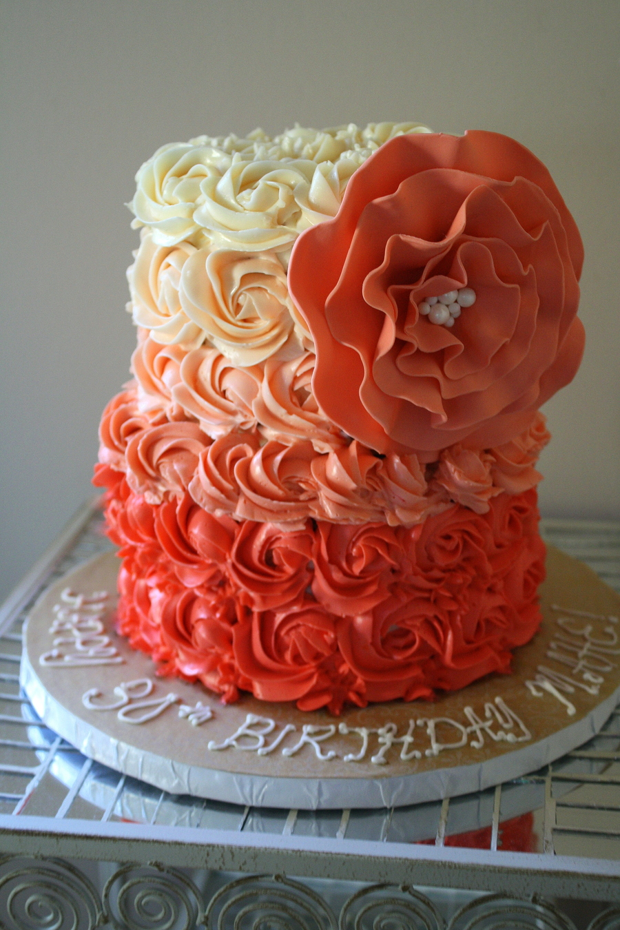 Coral Ombre Rose Cake on Cake Central