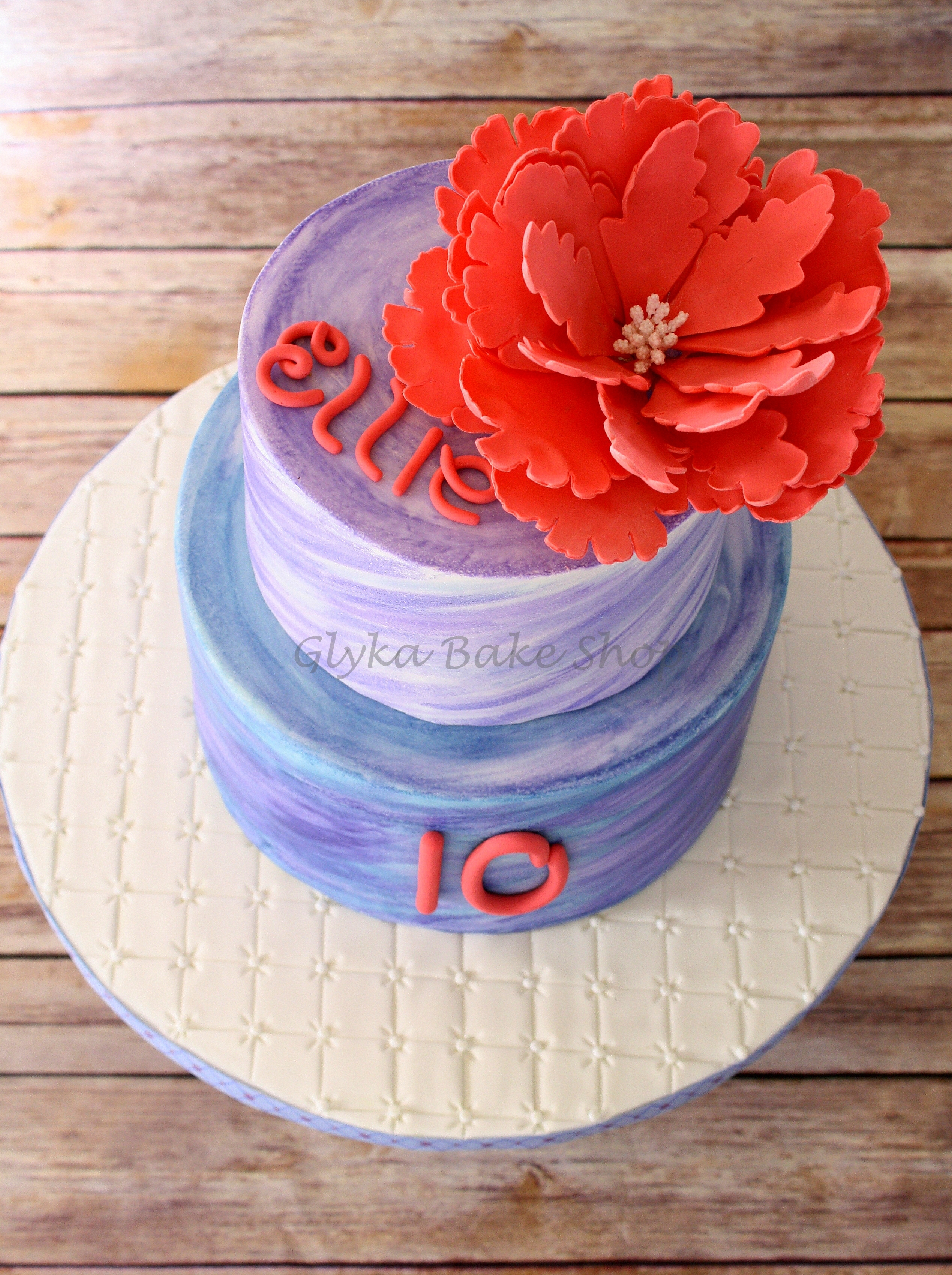 Two Tier Hand Painted Watercolor Cake In Blue And Purple
