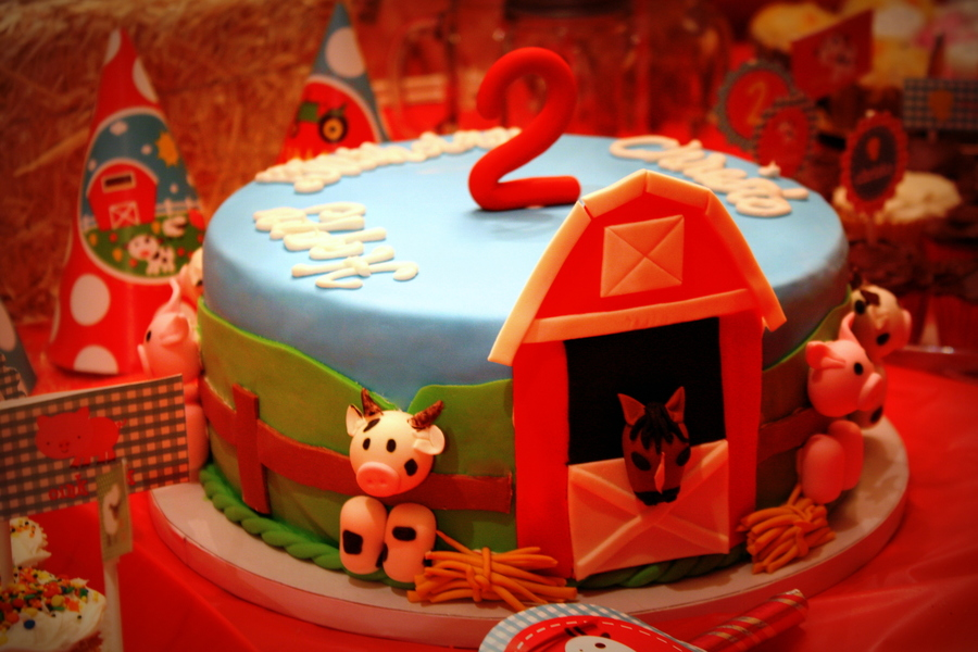 Barnyard Themed 2Nd Birthday Cake  on Cake Central