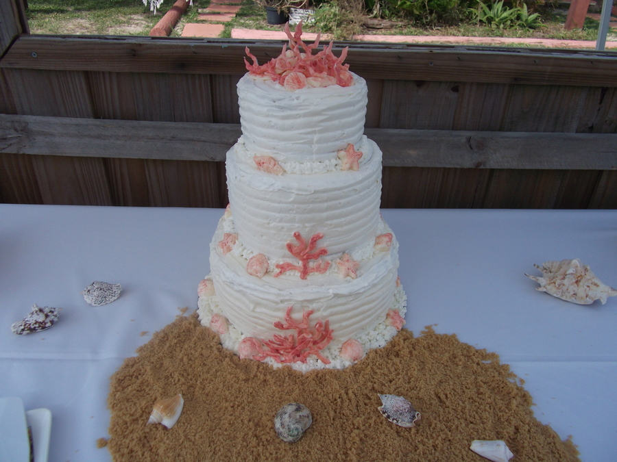 First 3 Tier Wedding Cake For Beach Wedding on Cake Central