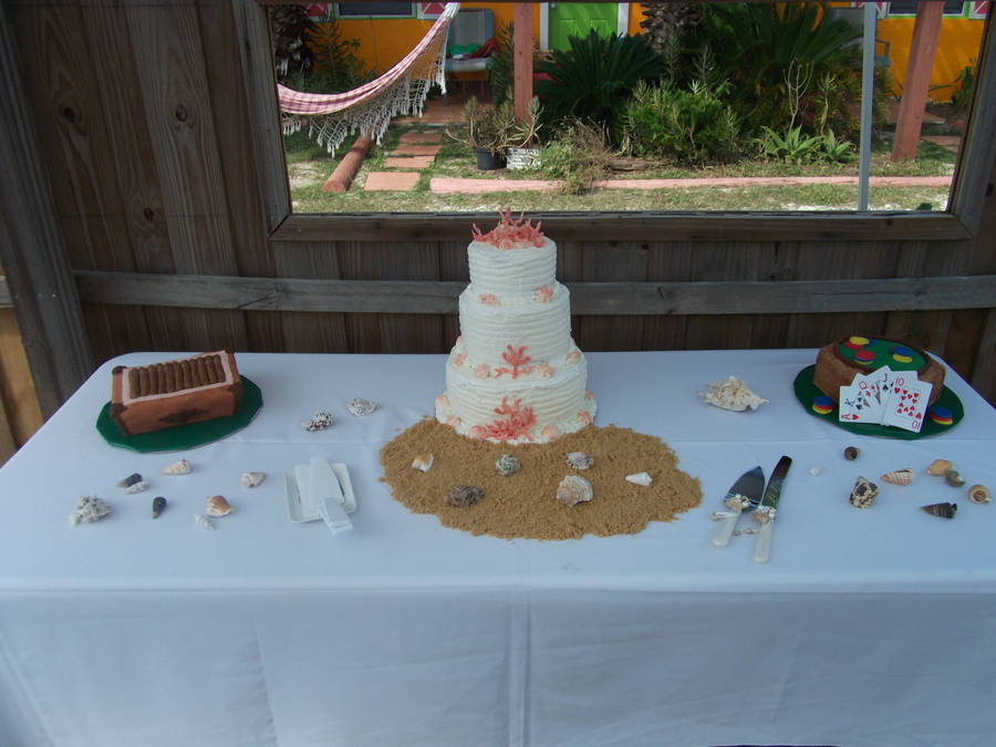 Full Set Up Cake Table For Beach Wedding Three Tier Wedding Cake And ...