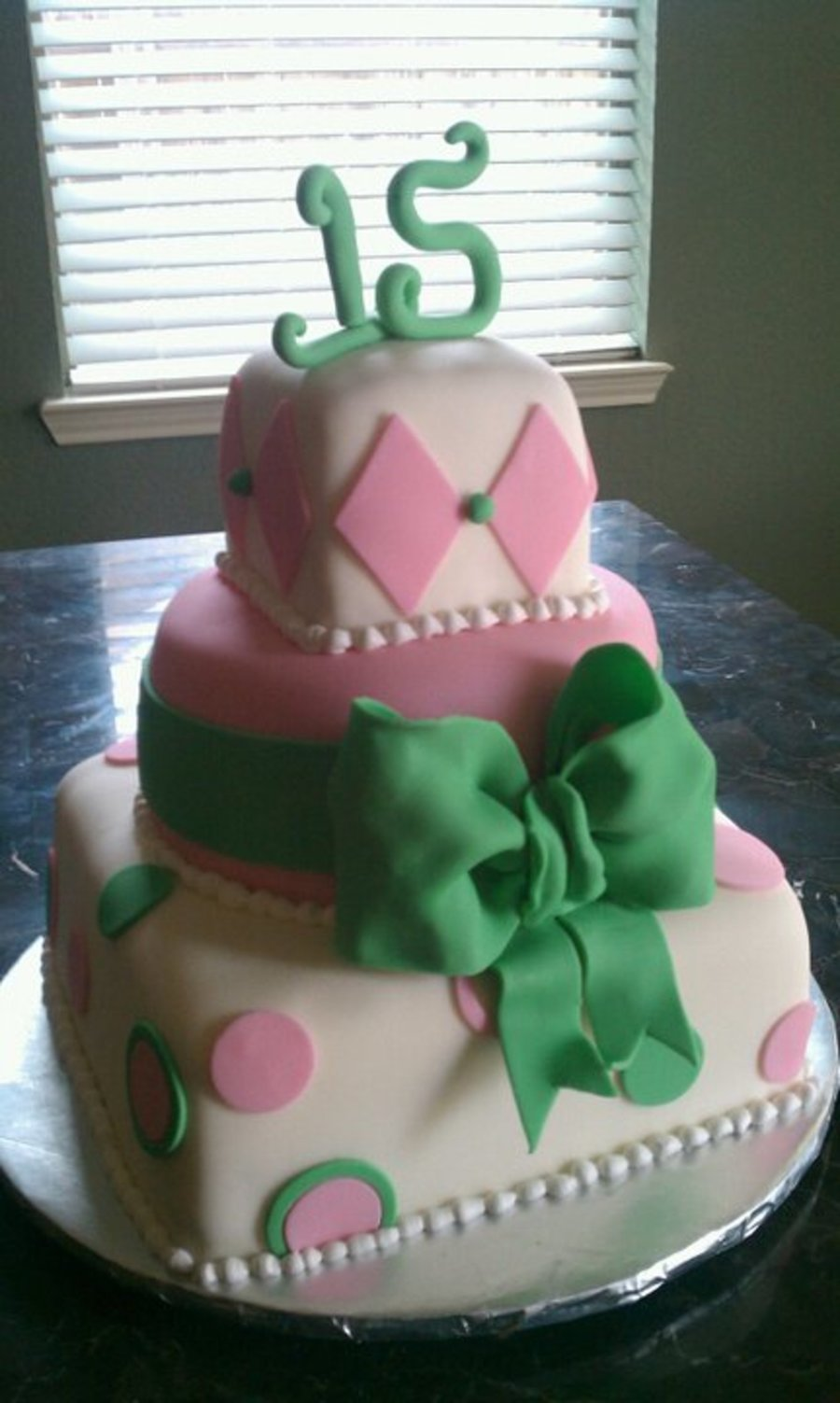 Pink And Green Theme Quinceanera Cake on Cake Central