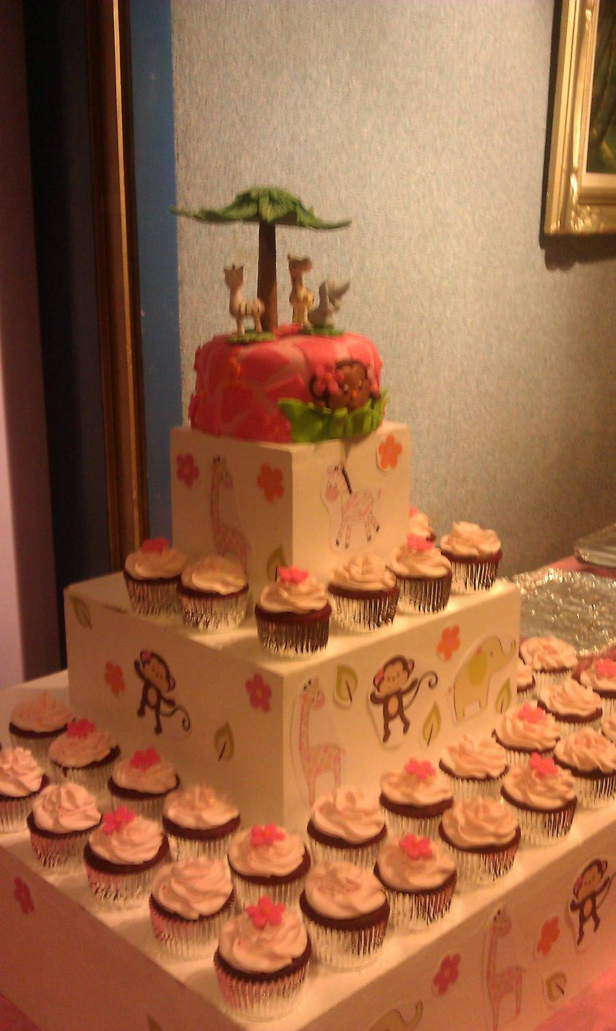 Pink Girl Monkey Cake And Coordinating Cupcakes on Cake Central