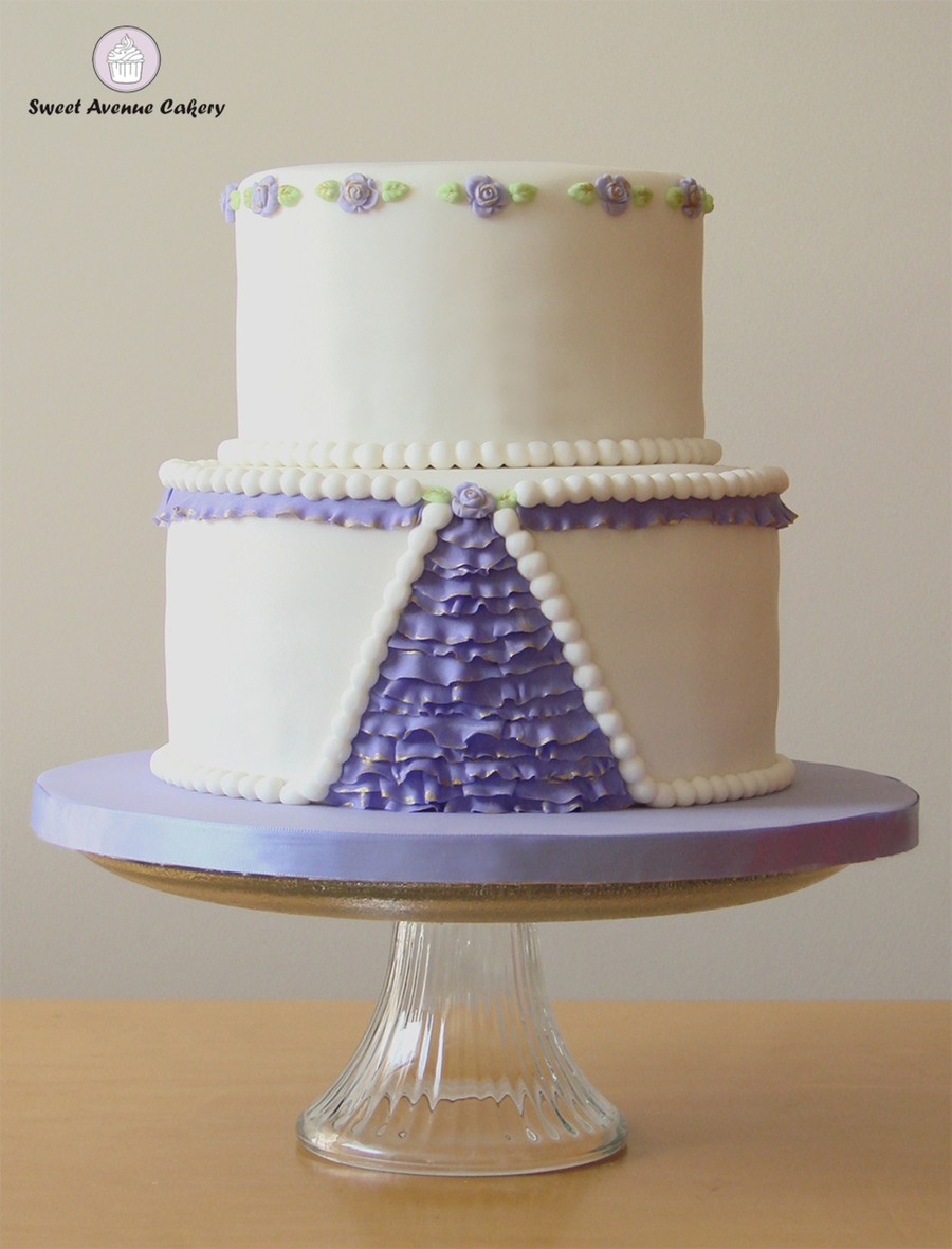 Elegant Ruffle Cake In White And Violet on Cake Central
