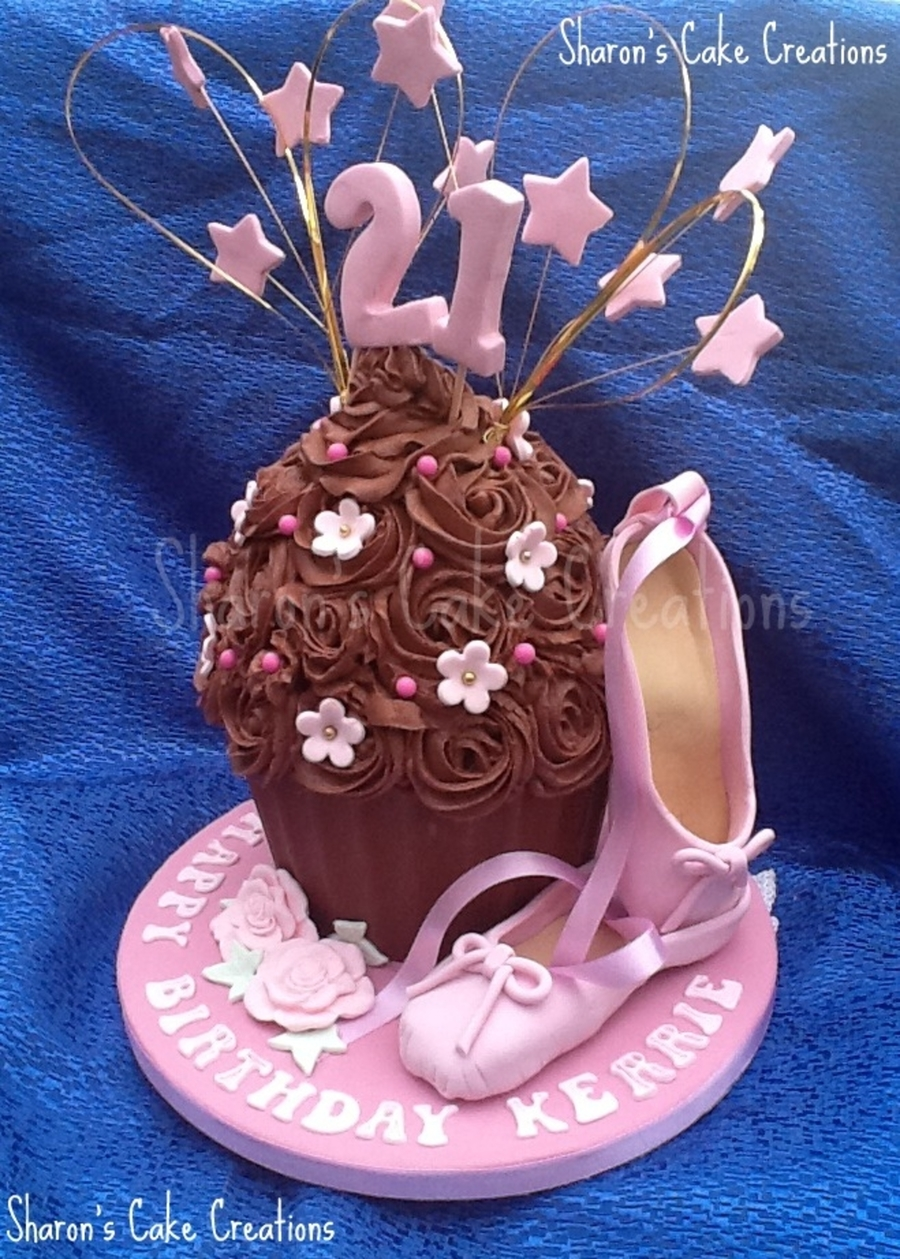 Chocolate Giant Cupcake With Ballet Shoes For 21st Birthday
