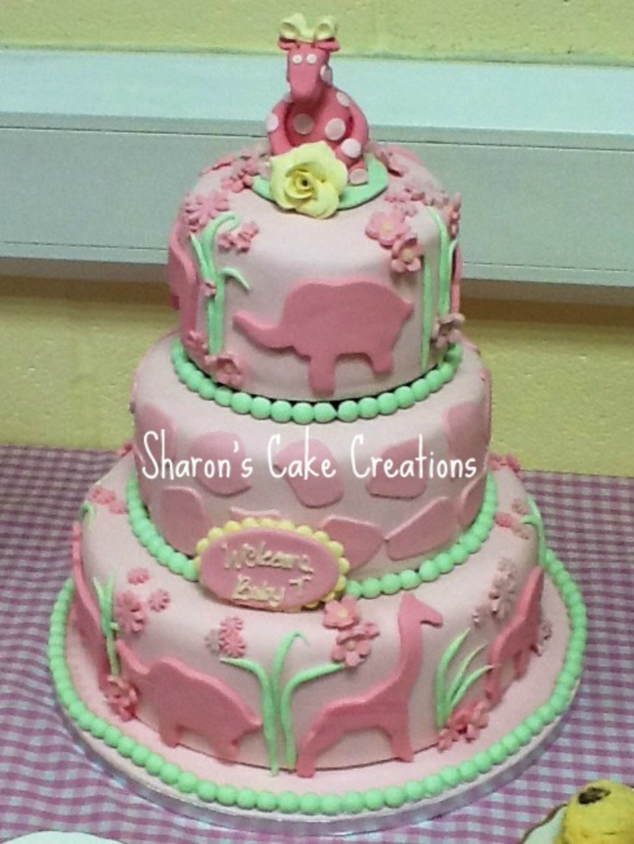 Pink Jungle & Giraffe Shower Cake on Cake Central