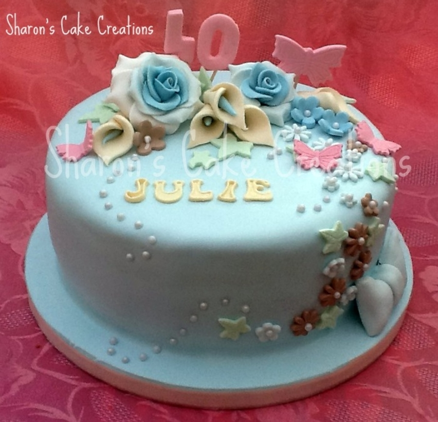 Light Blue Floral Birthday Cake CakeCentralcom