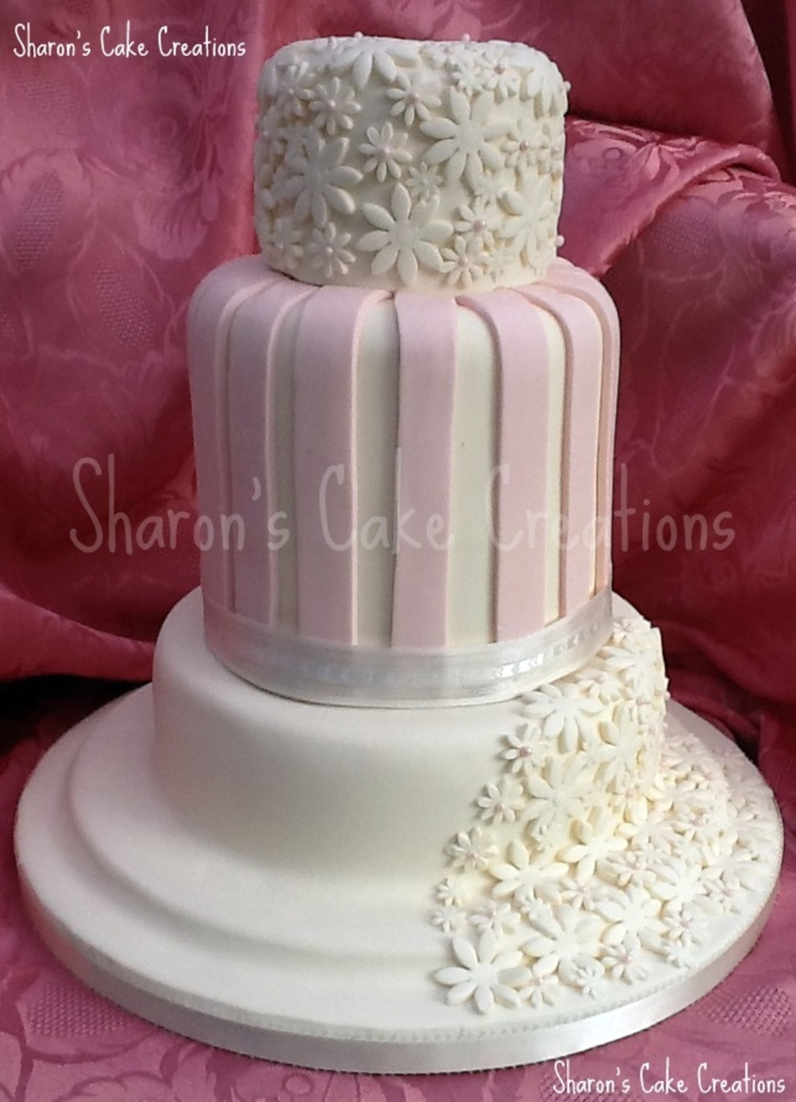Wedding Cake In Ivory And Pale Pink on Cake Central