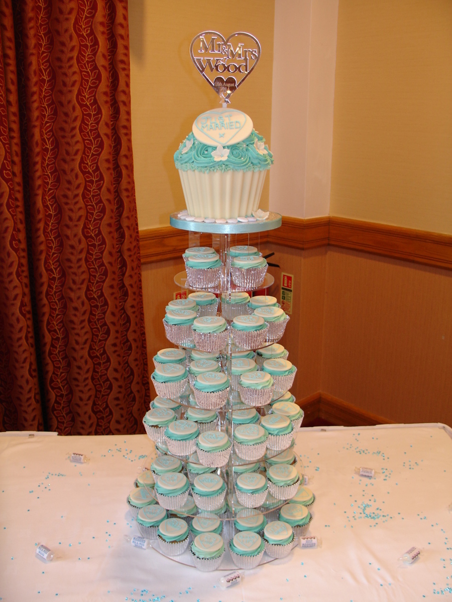 Giant Cupcake Cake And Cupcakes For A Wedding