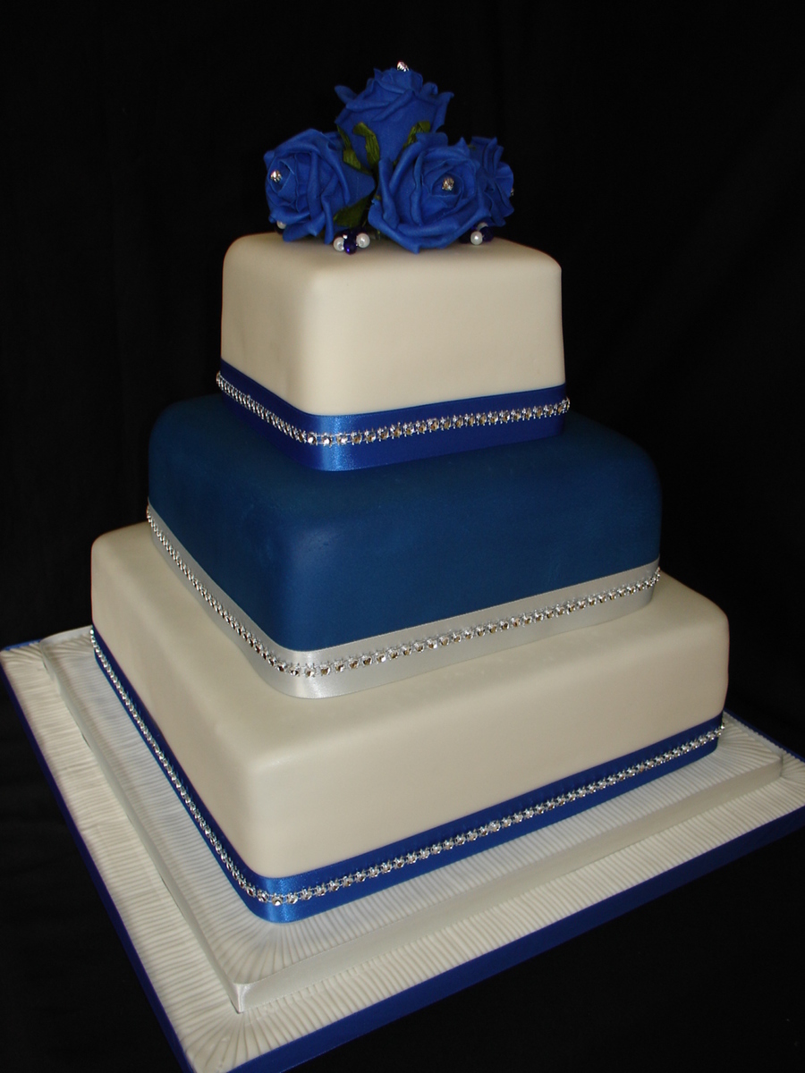 royal blue and white square wedding cakes blue amp ivory wedding cake cakecentral 19357