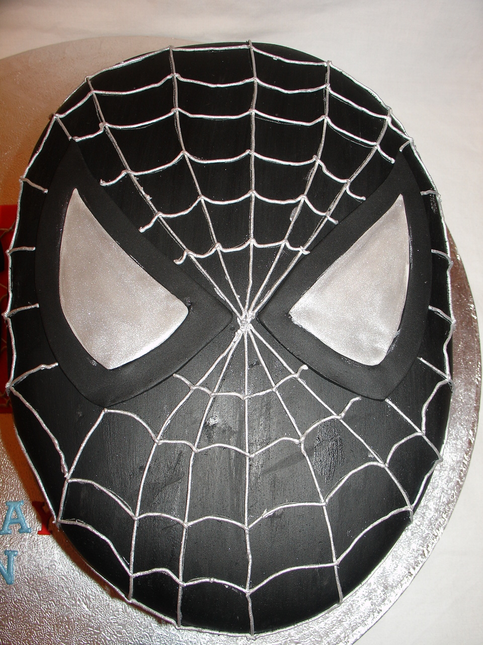Birthday Cake Toy : Black spiderman head fondant cake cakecentral
