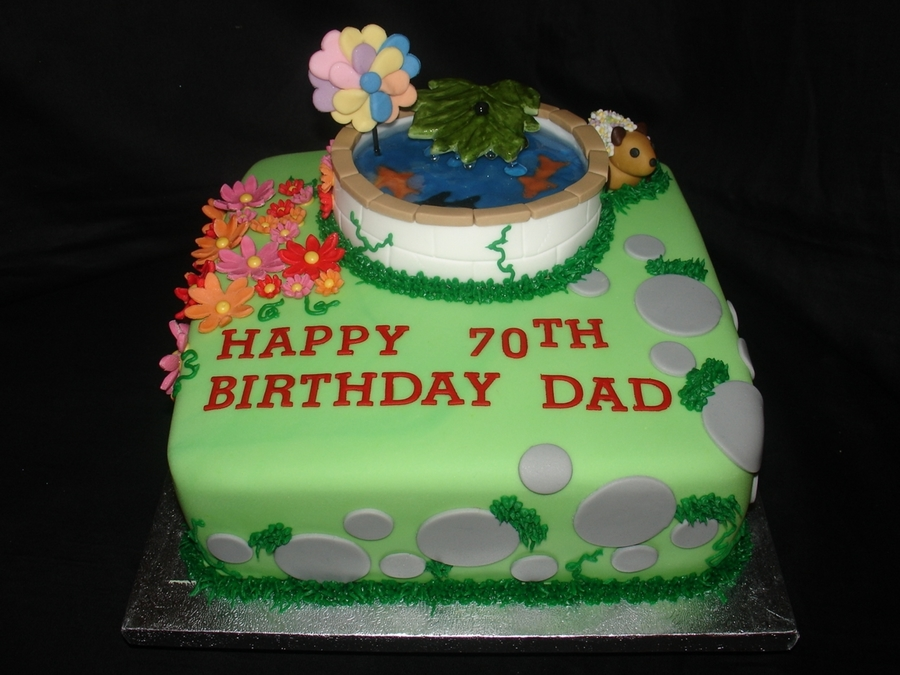 Incredible Fish Pond 70Th Birthday Cake Cakecentral Com Funny Birthday Cards Online Fluifree Goldxyz