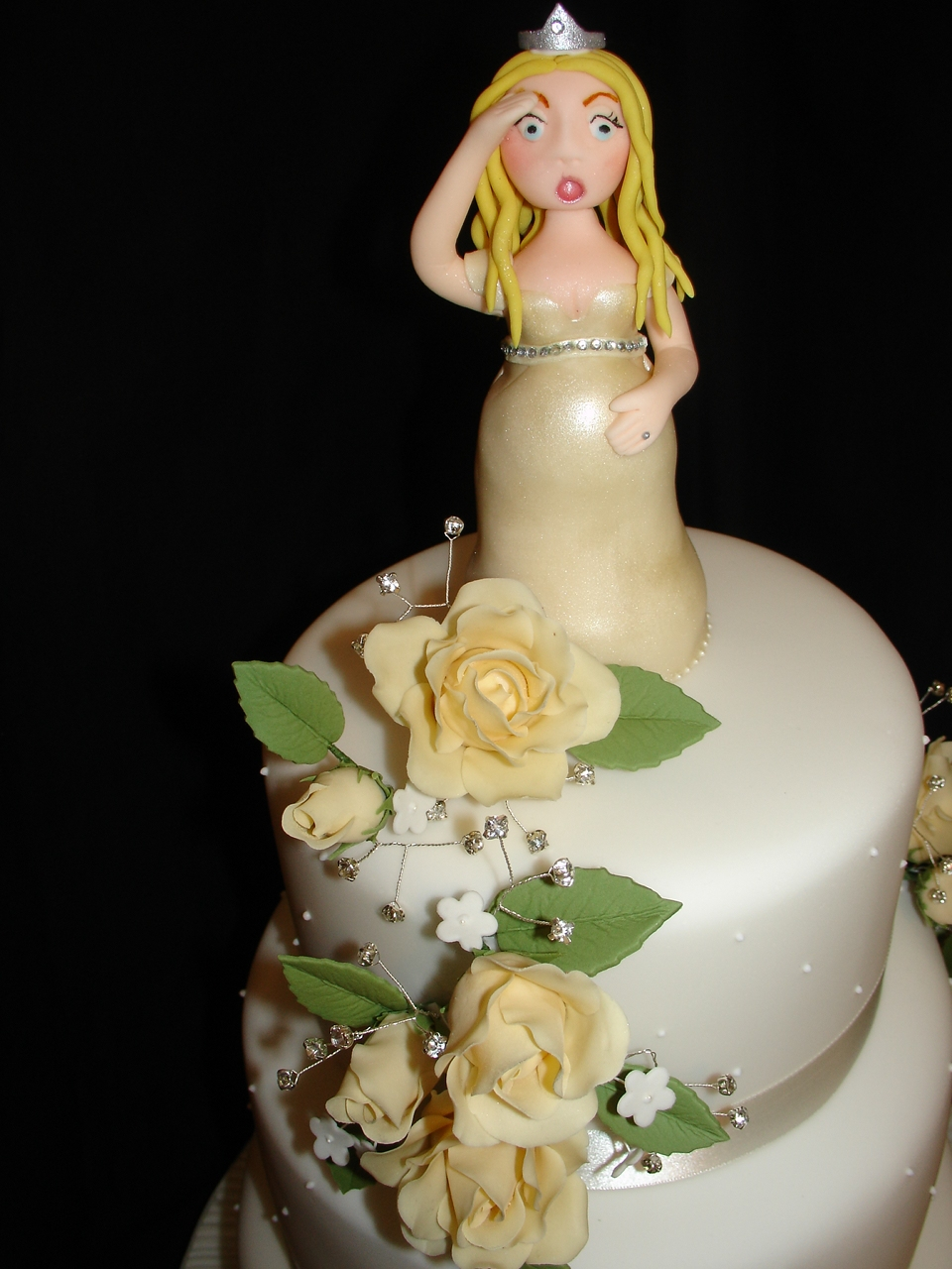 Pregnant Bride With Ivory Roses Wedding Cake - CakeCentral.com