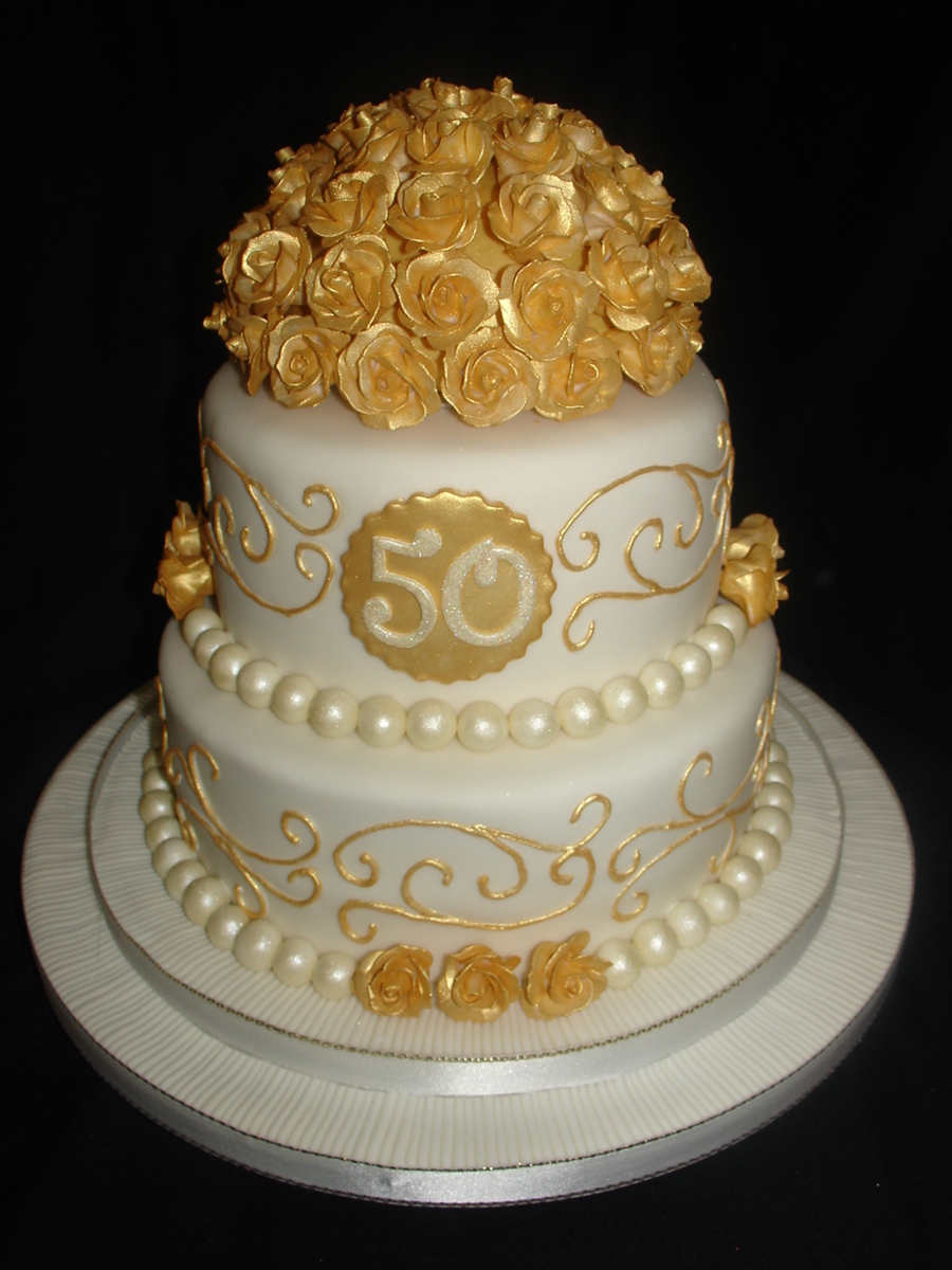 50th Wedding Anniversary Cakes.Golden 50th Wedding Anniversary Fondant Cake Cakecentral Com