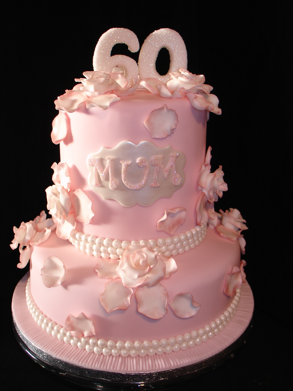 Pale Pink 60Th Birthday Fondant Cake - CakeCentral.com