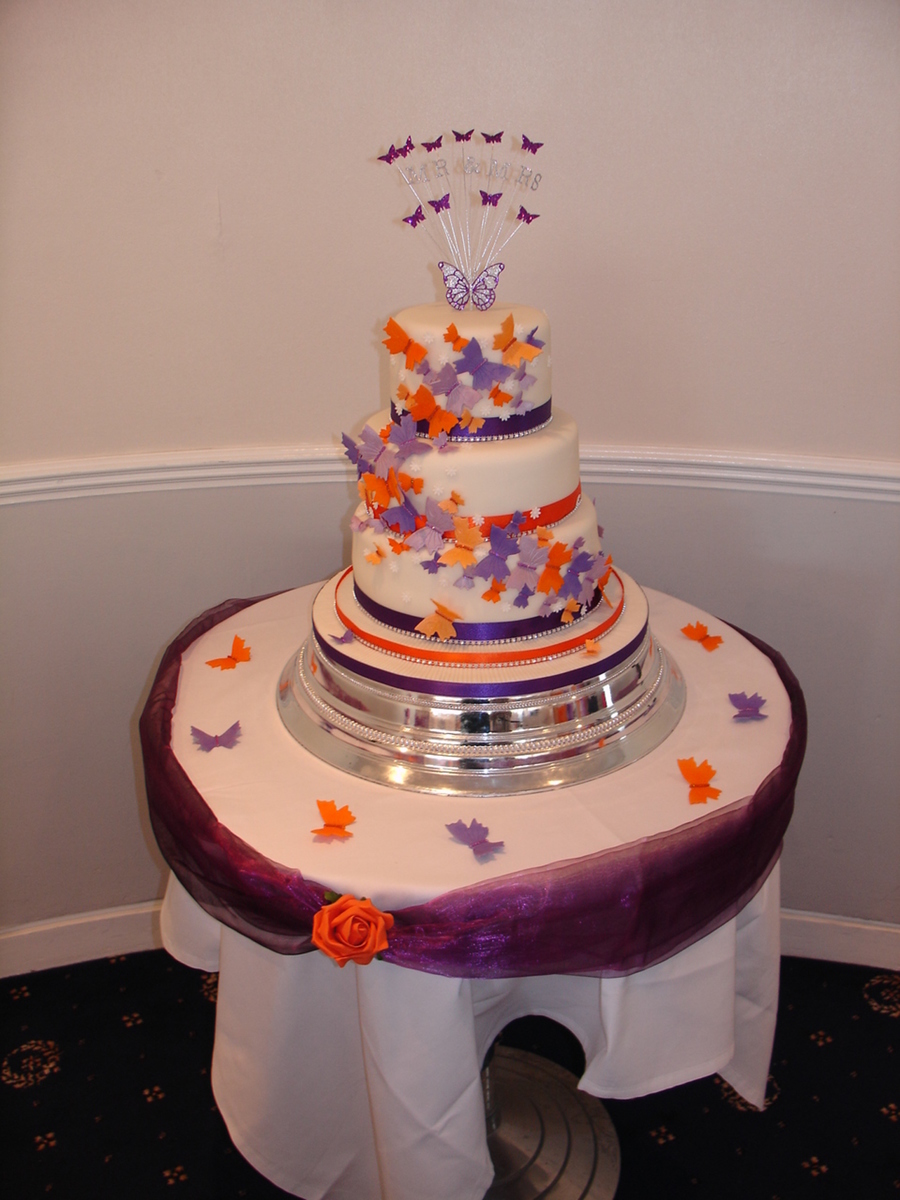 orange and purple wedding cake ideas purple amp orange butterflies wedding cake cakecentral 18038