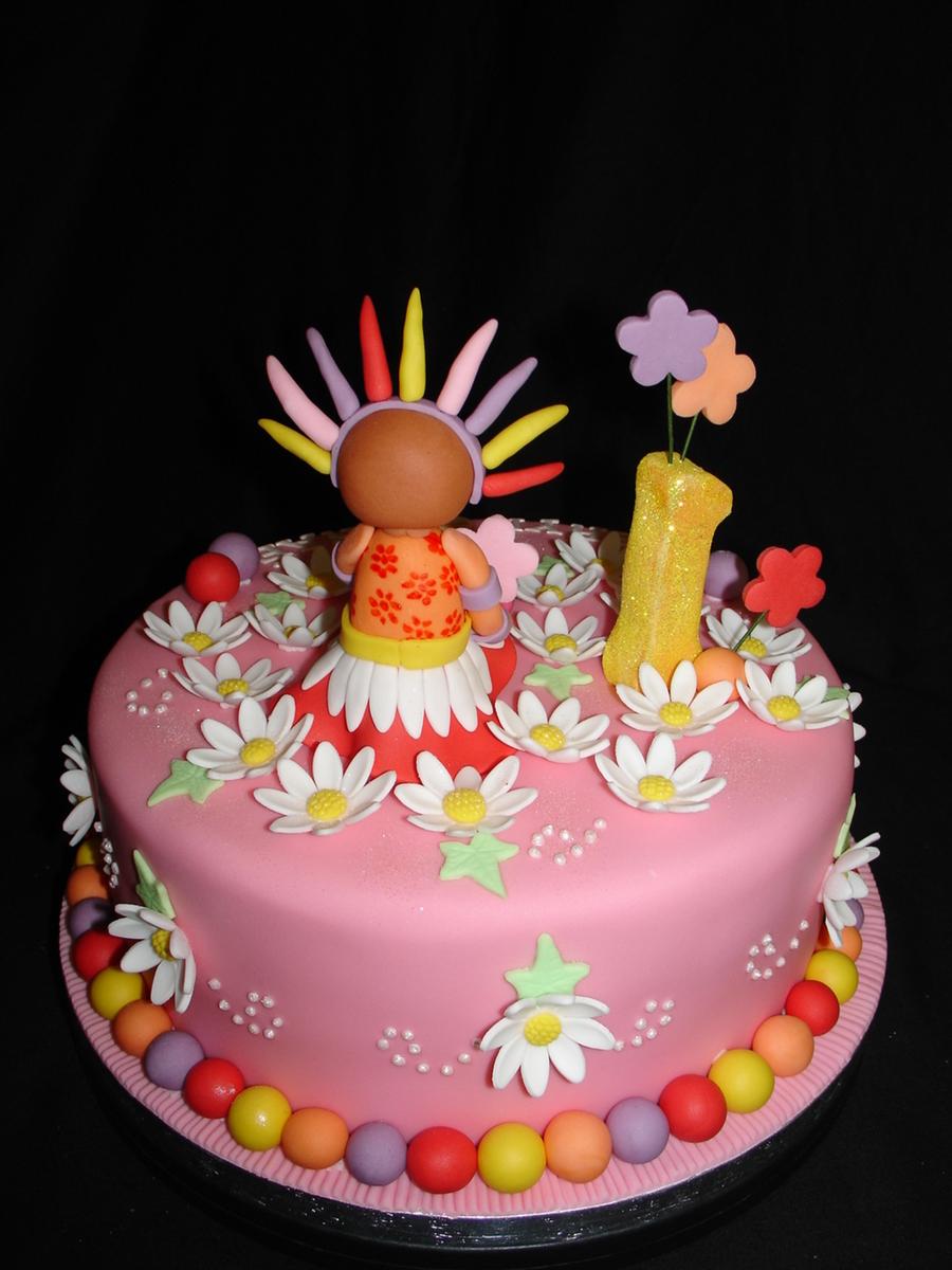 Upsy Daisy Fondant Cake - CakeCentral.com