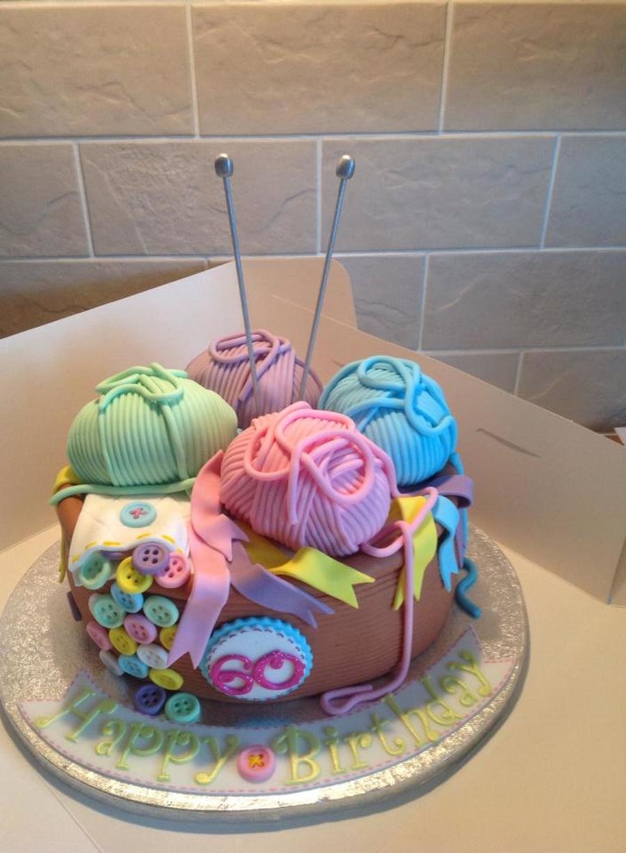 Knitting Cake Decorations : Th birthday knitting theme fondant cake cakecentral