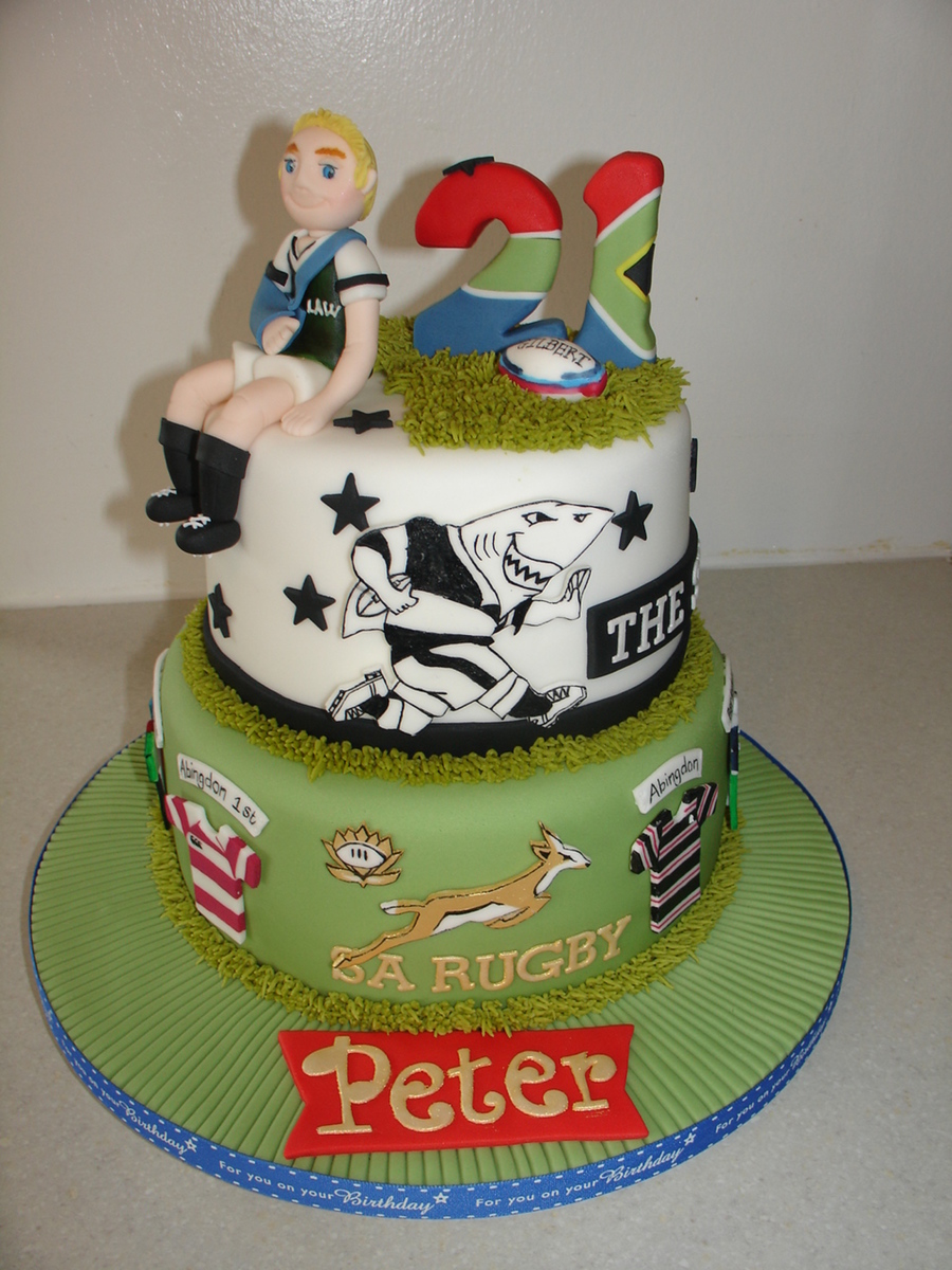 21st South African Rugby Theme Fondant Cake Cakecentral Com