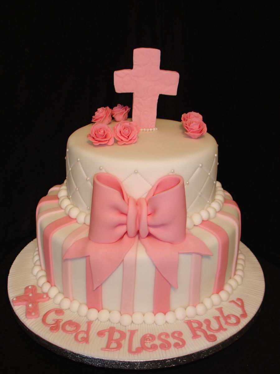 Girl Christening Fondant Cake - CakeCentral.com