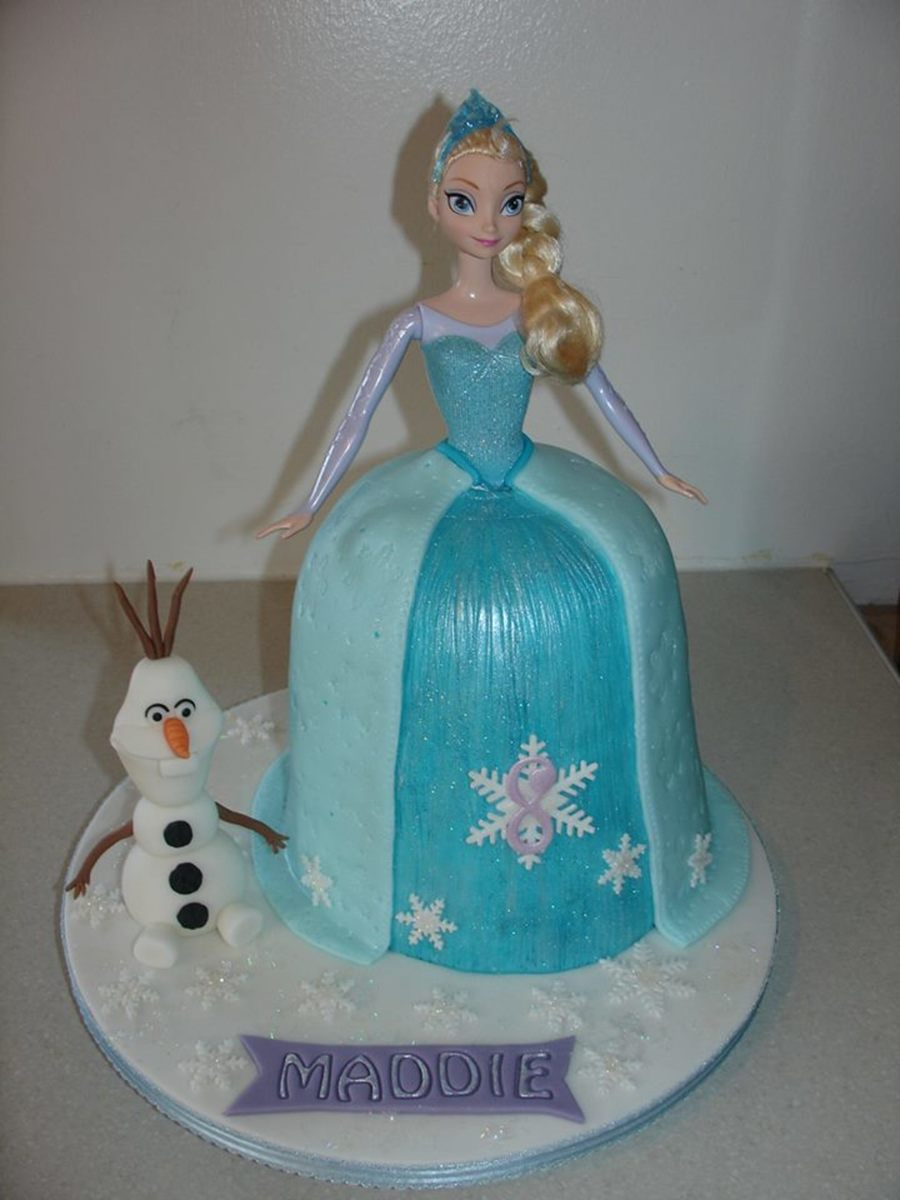 Elsa Doll Cake Decorations : Elsa (Frozen) Doll Dress Fondant Cake - CakeCentral.com