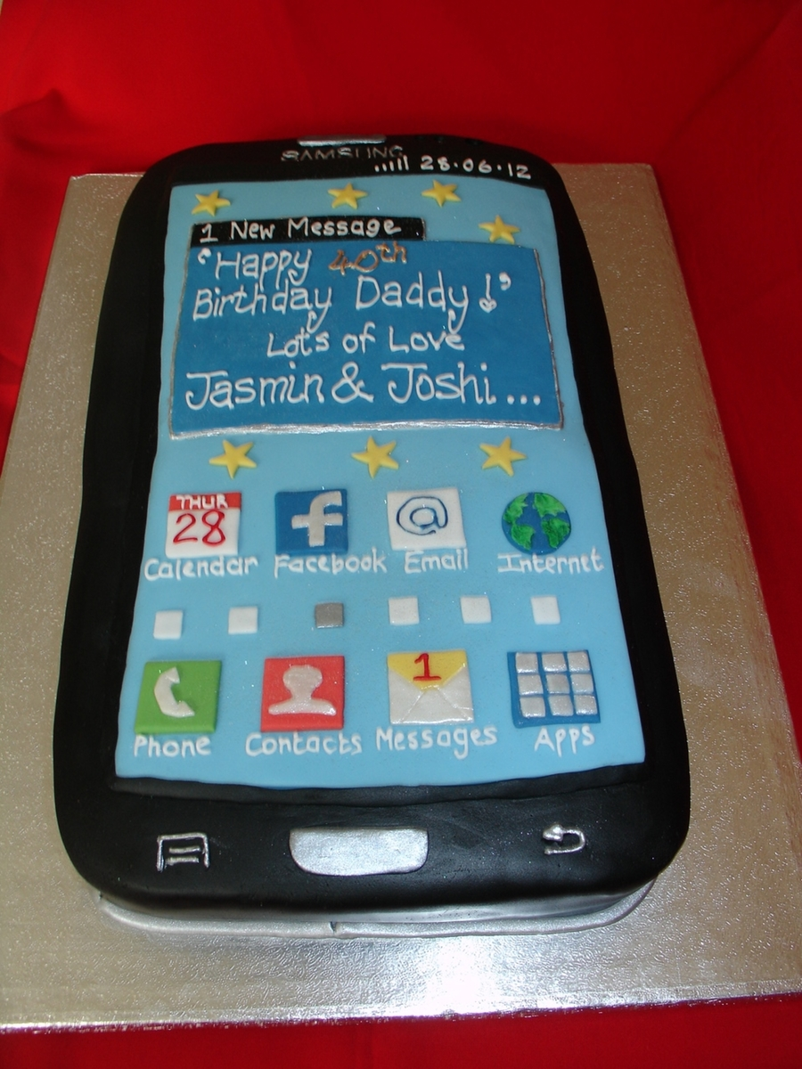 Cake Decorating Company Contact Number : Samsung Mobile Phone Fondant Cake - CakeCentral.com