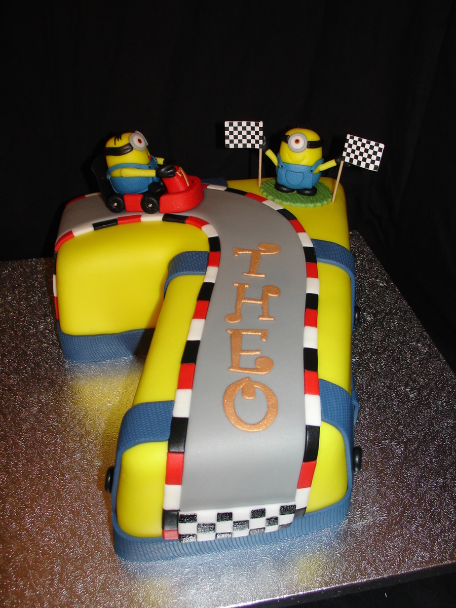 Number 7 Minion Go Kart Themed Fondant Cake Cakecentral Com