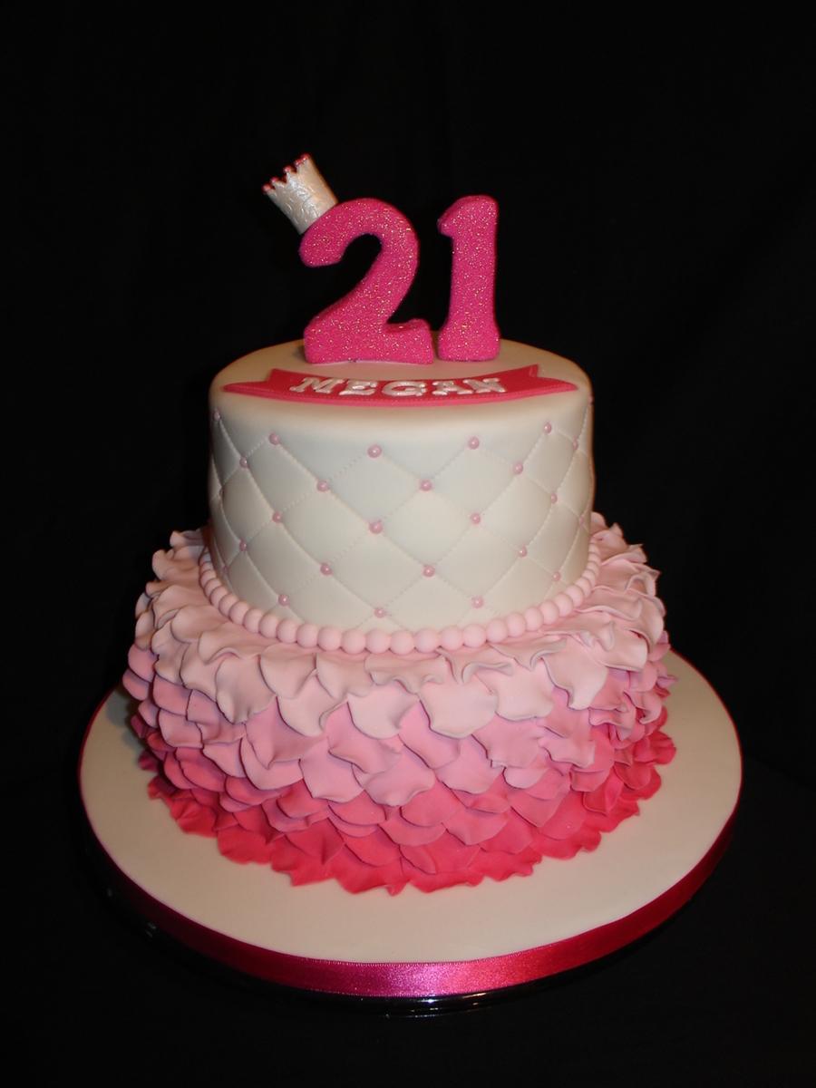 Fondant Cake Photos Birthday : Pink 21St Birthday Fondant Cake - CakeCentral.com