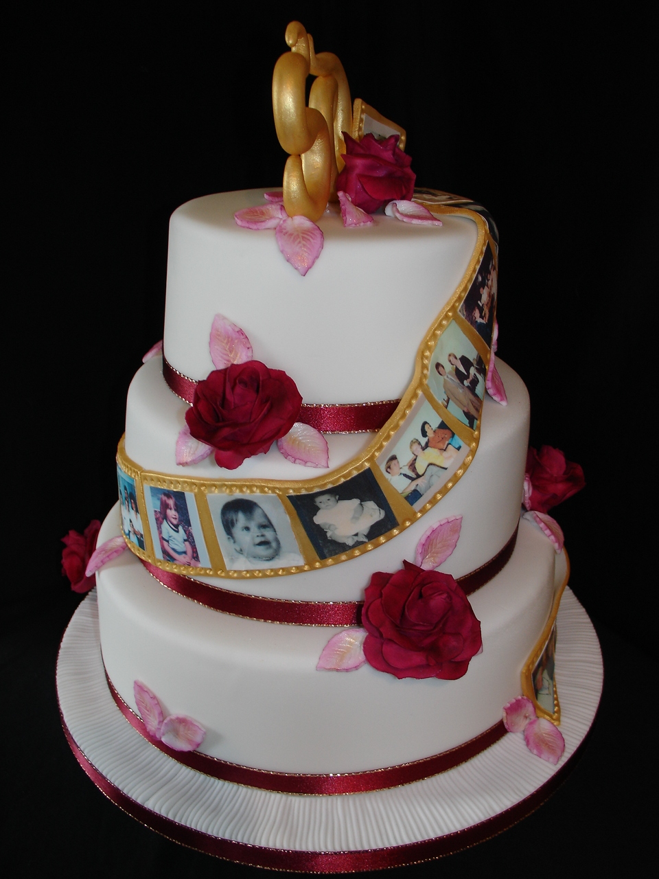 50th anniversary wedding cakes 50th golden wedding anniversay fondant cake with photos 1134