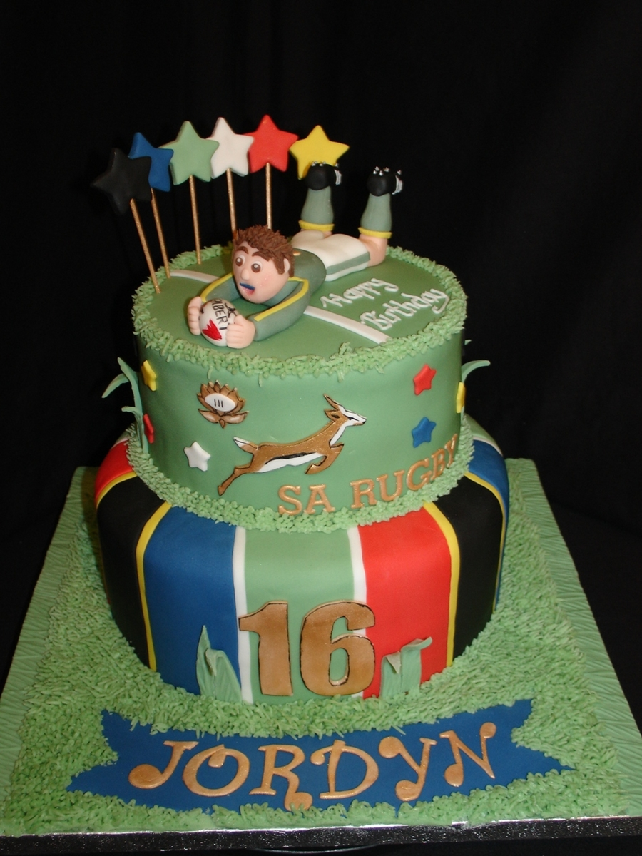 South African Rugby Fondant Cake Cakecentral Com