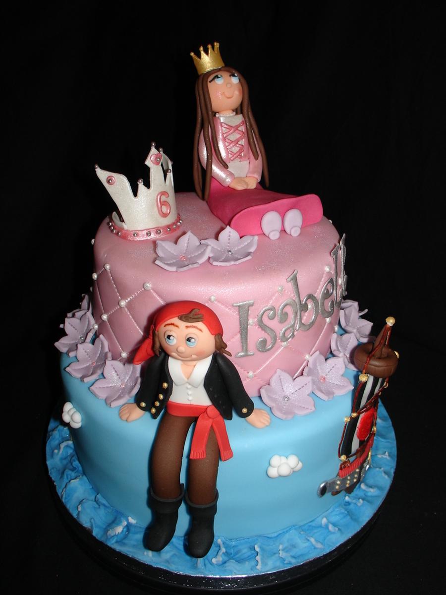 Princess Amp Pirate Fondant Cake Cakecentral Com