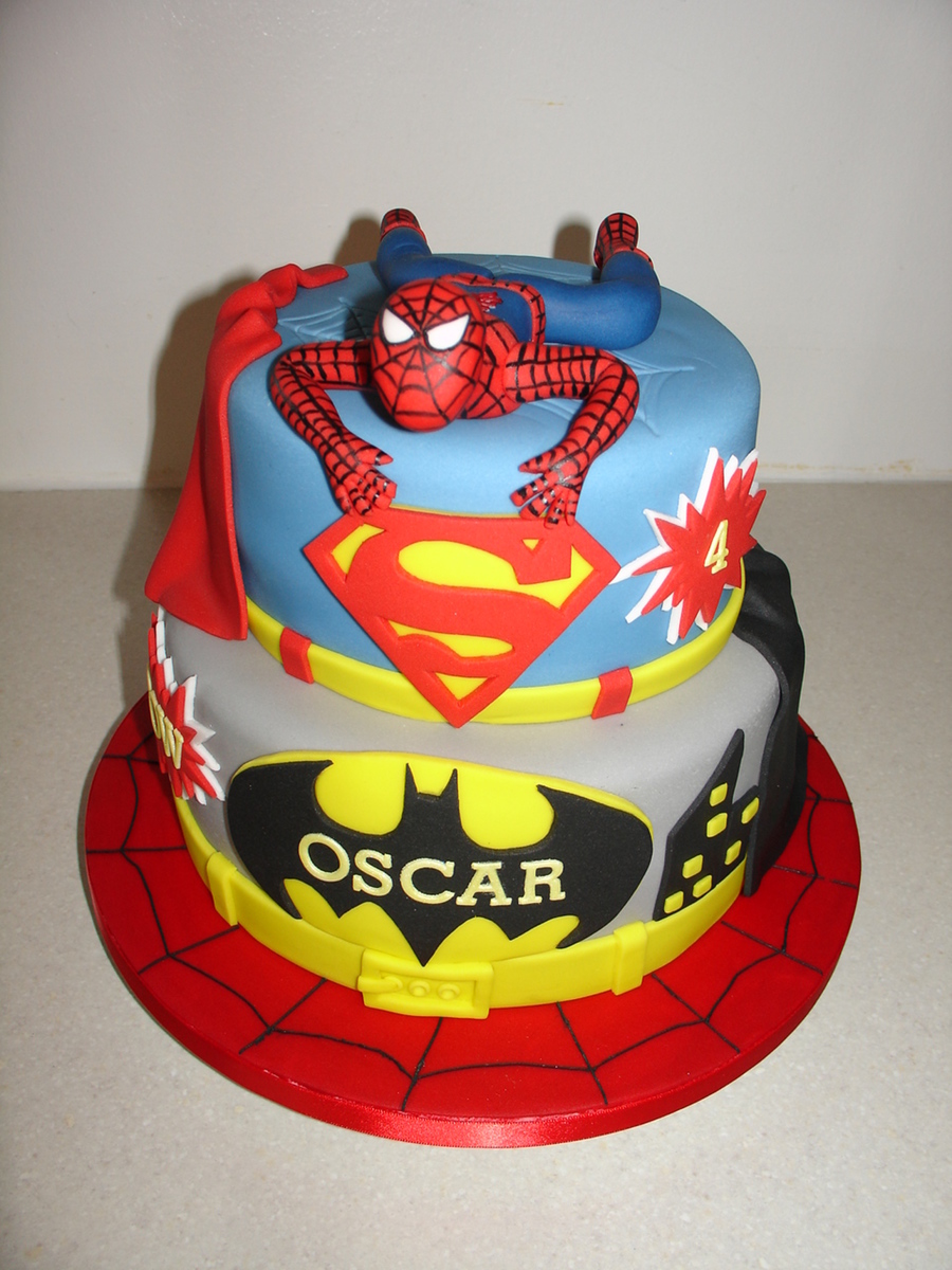 Batman Spiderman Superman Birthday Cake