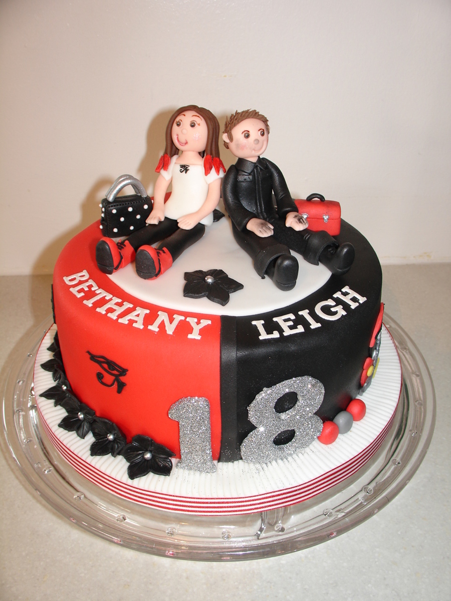 Red Amp Black 18th Birthday Fondant Cake Cakecentral Com