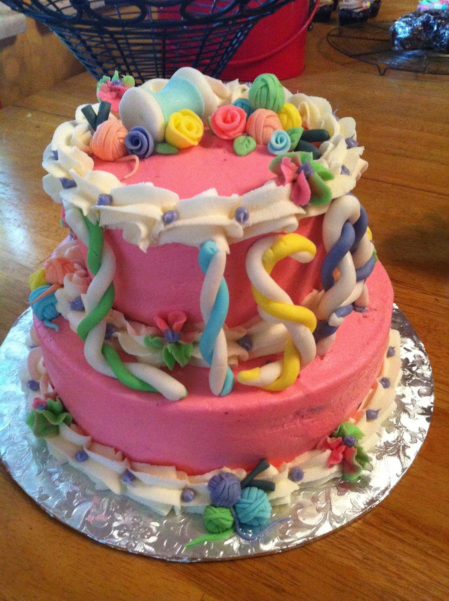 Knitting Birthday Cake Photos : Knitting themed birthday cake cakecentral