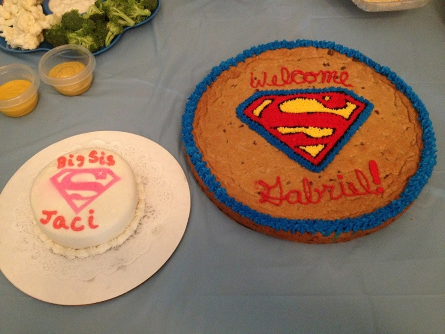 Superman Cookie Cake And Big Sister To Be Supergirl Cake on Cake Central