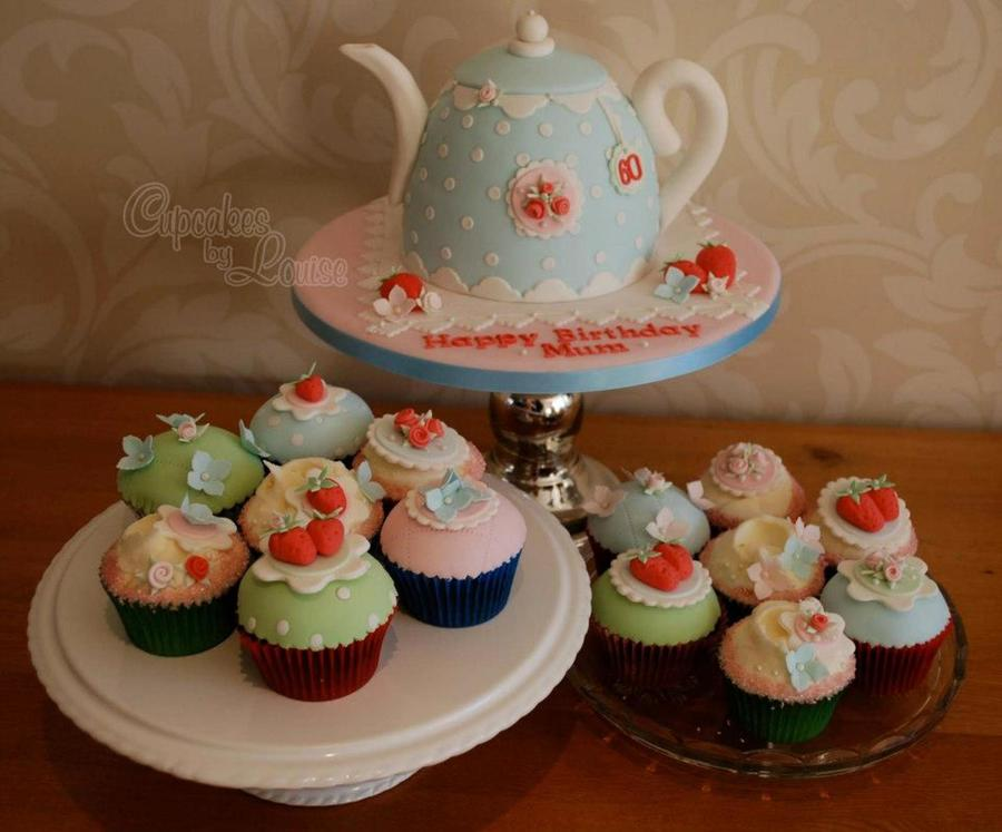 Cath Kidston Style Teapot Cake And Matching Cupcakes For A Ladies 60Th Birthday on Cake Central
