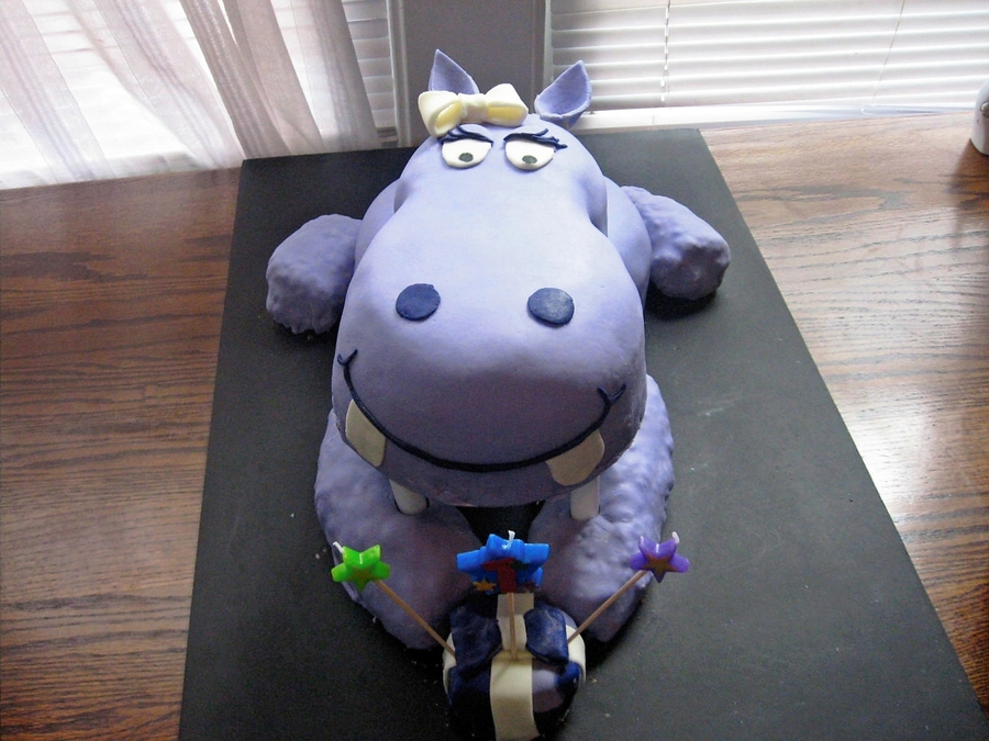 Purple Hippo Cake For First Birthday on Cake Central