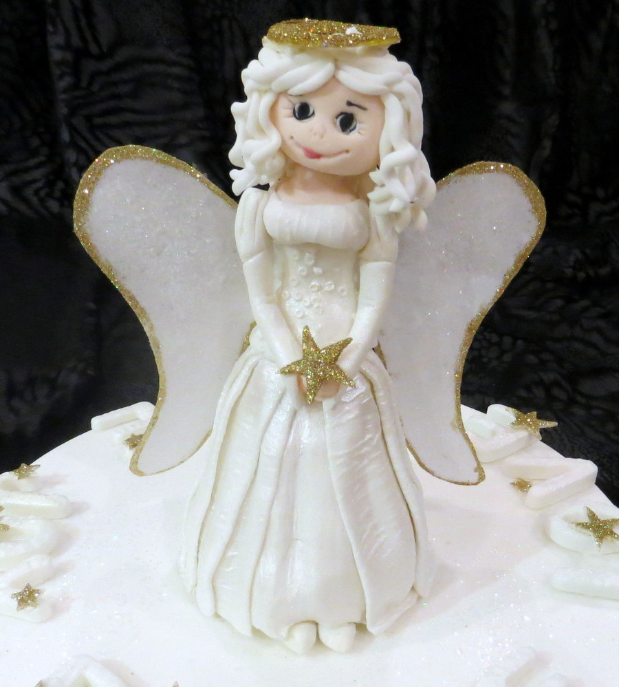 Christmas Cake With Edible Angel Made From Modelling Paste ...