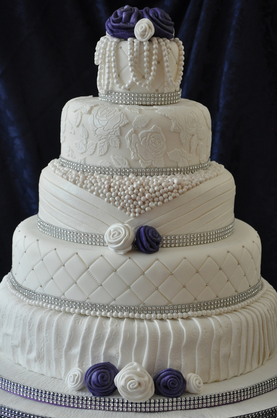 5 Tier Cake With Lace Effects Ribbon Roses And Pearls