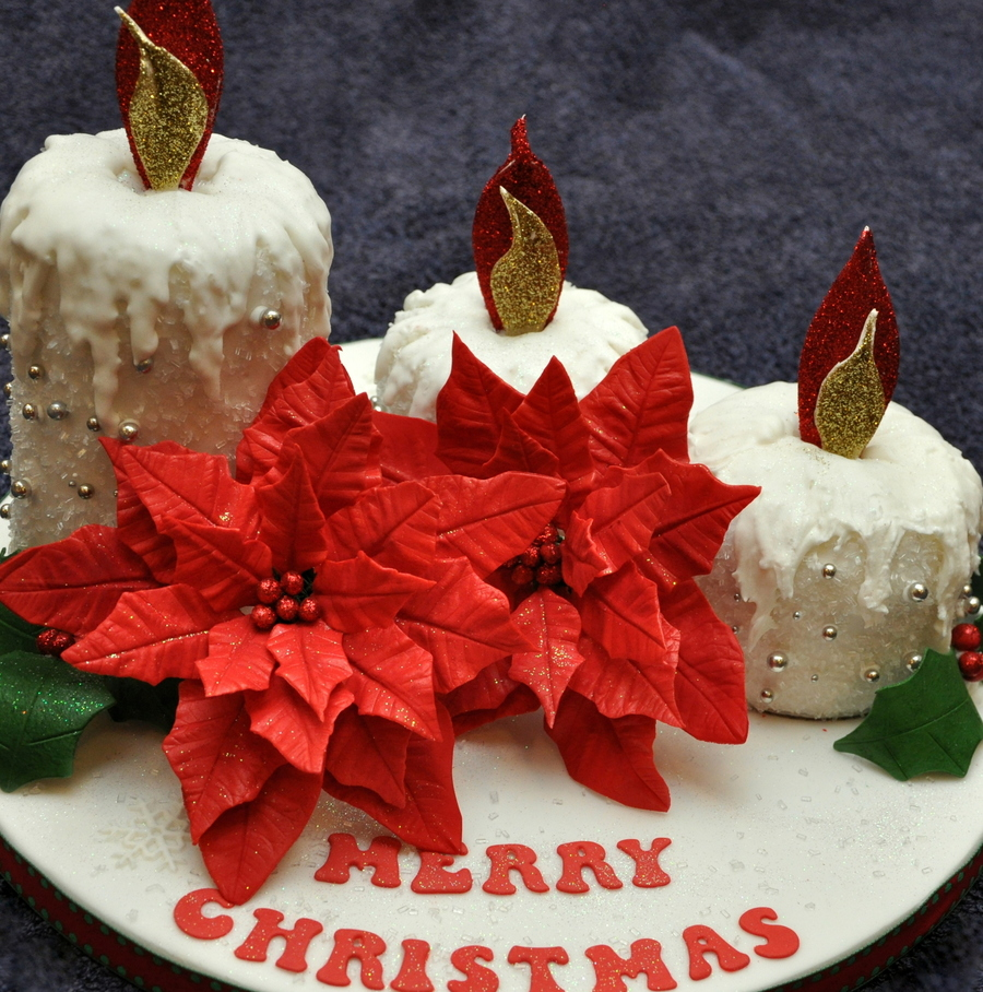Candle Cake With Petal Paste Poinsettia on Cake Central
